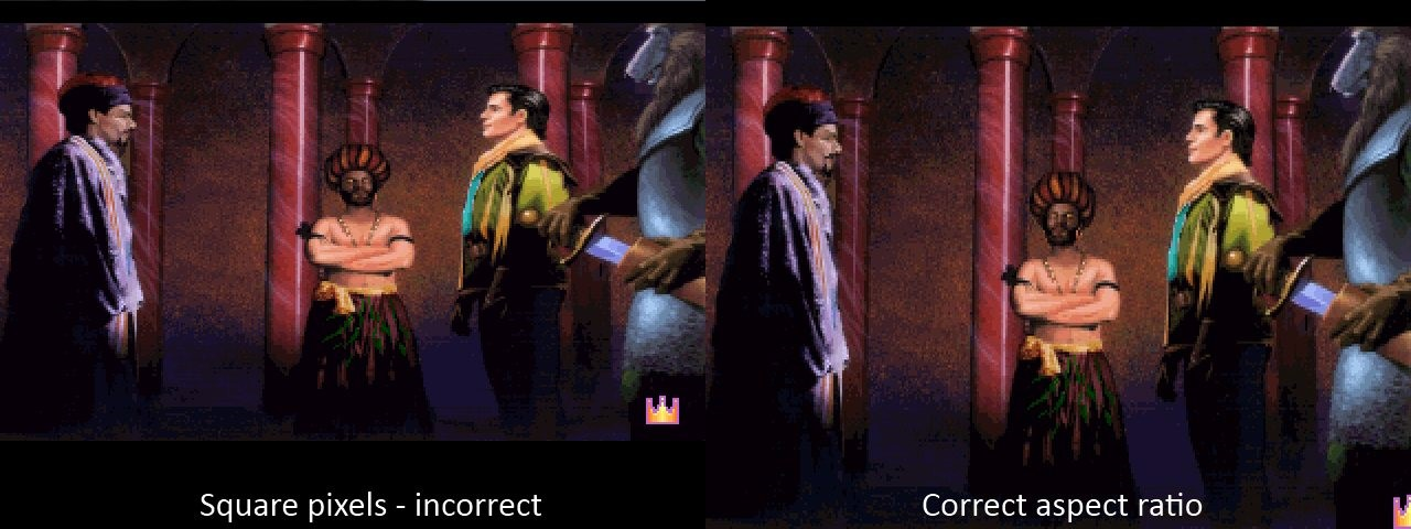 King's Quest 6 without and with aspect ratio correction