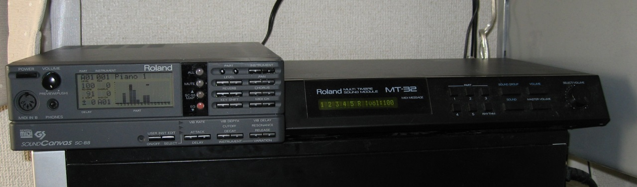Roland SC-88 (left) and Roland MT-32 (right)