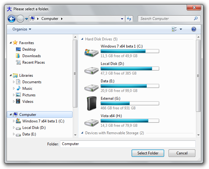 The Vista-style folder browser dialog on Windows 7