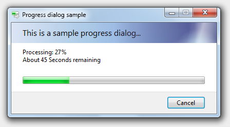 A progress dialog as it appears on Windows Vista and later