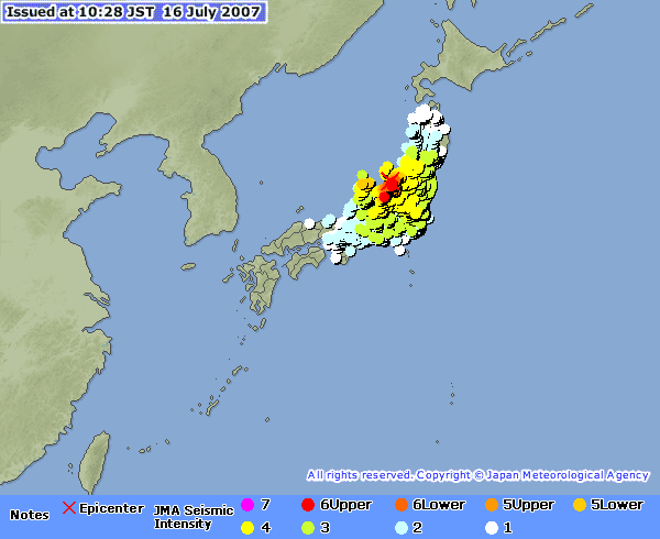 JMA earthquake information